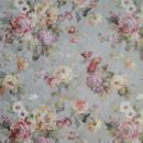 Жаккард дамаск с цветочным принтом серый 280 см